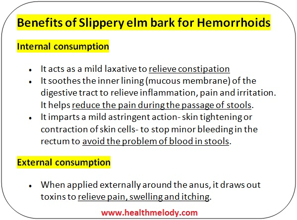 Benefits of slippery elm for hemorrhoids