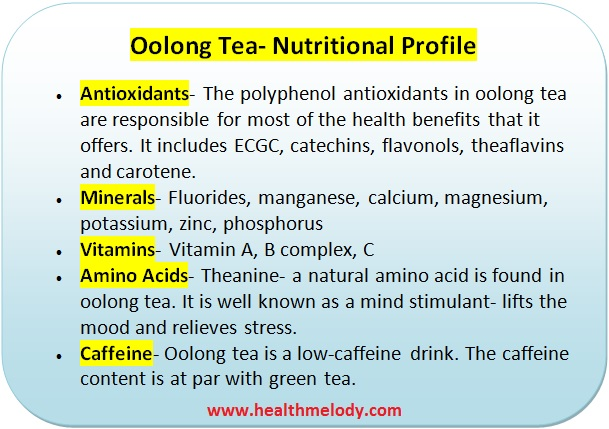 Oolong tea nutrients and digestion