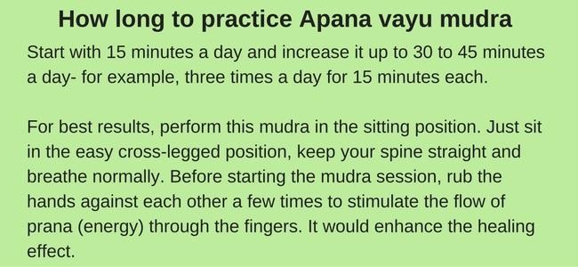 Apana vayu mudra for heart pain