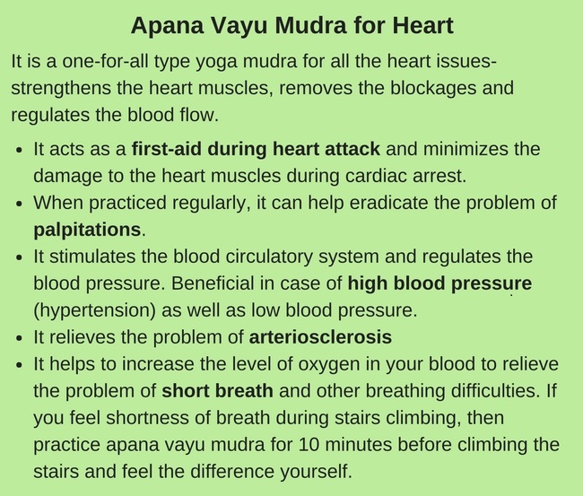 Apana vayu mudra to reduce high blood pressure