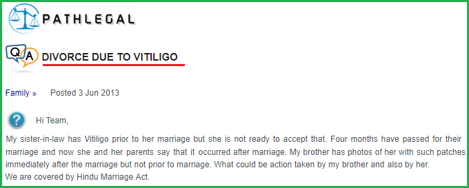 Divorce in marriage due to vitiligo leucoderma