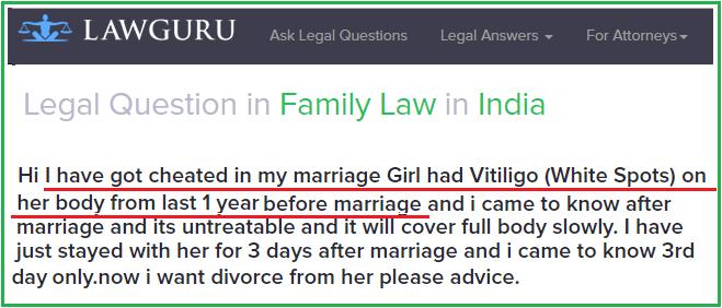 Divorce problem in vitiligo leucoderma marriage