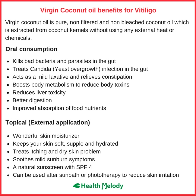 Virgin coconut oil Vitiligo Leucoderma