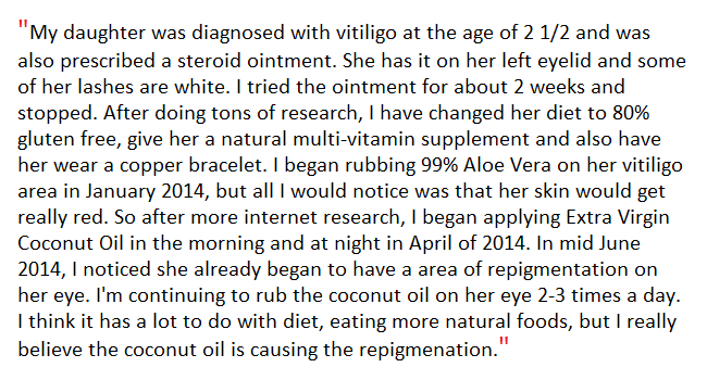 Virgin coconut oil Vitiligo reviews