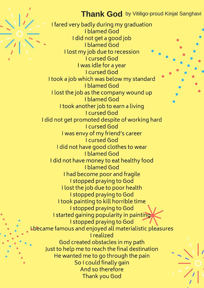 Thank God Vitiligo Poem Kinjal Sanghavi